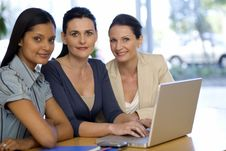 Free Three Businesswoman With Laptop Royalty Free Stock Photo - 3883635