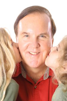 Free Happy Children Kissing Uncle Stock Photo - 3883860