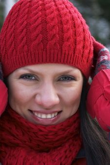 Free Beautiful Woman In A Red Cap Stock Photography - 3884122