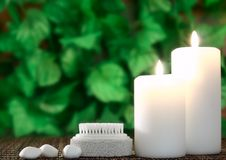 Candle,pumice And Stones Before Leaf Royalty Free Stock Images
