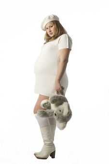 Free Pregnant Lady With Teddy Bear Stock Image - 3887351