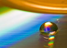 Free Water Drop On The CD Stock Image - 3888761