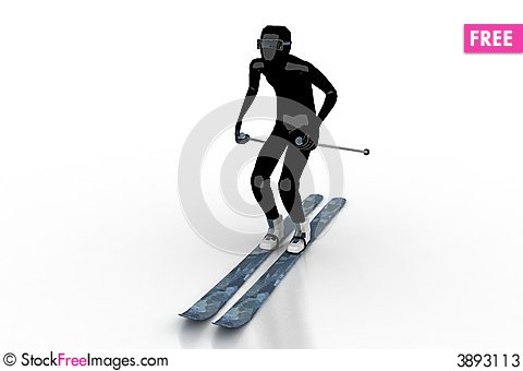 Free Skier On White Background Stock Photos - 3893113