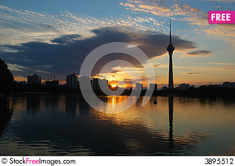 Free CCTV Tower At Sunset Stock Photography - 3895512