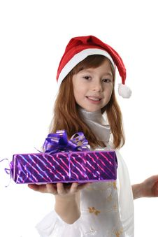 Free Girl Santa Holds Gift Stock Photography - 3890272