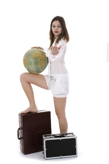 Free Young Woman With  Suitcase And Globe Royalty Free Stock Photography - 3890867