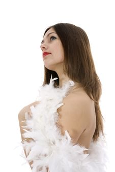 Nude Girl With Cape From Feather Stock Photos