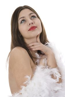 Nude Girl With Cape From Feather Stock Images