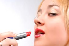 Free Red Lipstick And Red Lips Stock Image - 3891141