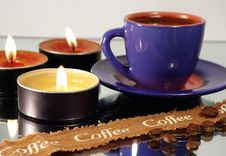 Free Cup Of Coffee And Candles Stock Photo - 3892630