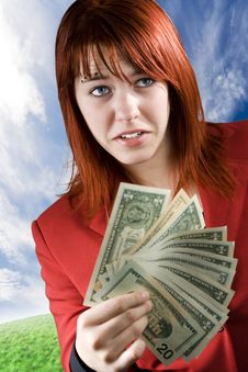 Free Surprised Girl Waving American Dollars Stock Image - 3895091