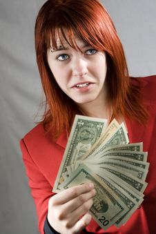 Free Surprised Girl Waving American Dollars Stock Photo - 3895110