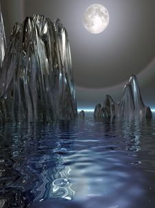 Surreal Moon And Ice Stock Photo