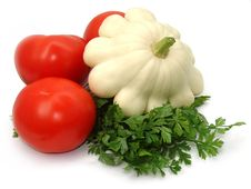 Free Tomatoes, Cymbling And Parsley Royalty Free Stock Photo - 3897335
