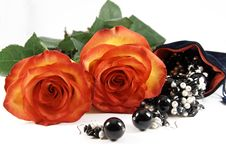 Two Beautiful Roses And Jewelery Stock Photo