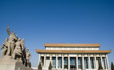 Chairman Mao Memorial And Sculpture Stock Photography