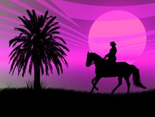 Free Equestrian In The Sunset Stock Images - 3899854