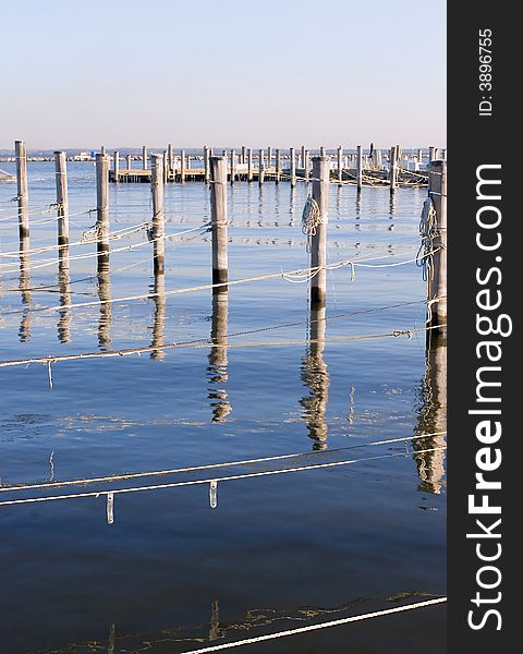 Wooded Dock Poles and Ropes. Vertical