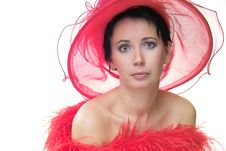 Free Lady In Red Hat Royalty Free Stock Photography - 390047