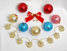 Free New Year Christmas-tree Decorations Royalty Free Stock Photography - 390137