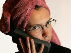 Free Female With A Phone Royalty Free Stock Photography - 390147
