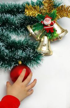 Free Handbells A Red Sphere And A Bow Christmas Decoration Stock Images - 390434