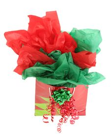 Red And Green Gift Holiday Gift Bag Royalty Free Stock Photo
