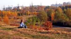 Girl And Autumn Stock Images