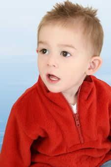 Free Adorable One Year Old Boy In Red Sweater Stock Images - 396714