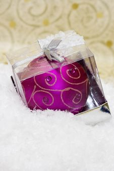 Candle In Box With Snow Royalty Free Stock Photo