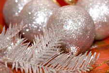 Silver Christmas Tree And Balls Royalty Free Stock Photos
