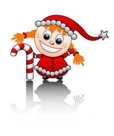 Free Vector Illustration Of A Little Santa S Helper Gir Royalty Free Stock Photography - 3902557