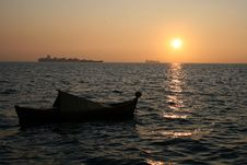 Free Boat At Sunset Royalty Free Stock Photo - 3903835