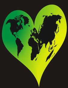 Free World In Green Heart Royalty Free Stock Photo - 3904755