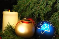 New Year S Three Spheres On A Fur-tree Stock Photos
