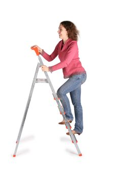 Young Woman On  Stepladder Stock Photography