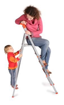 Mother And Daughter On  Stepladder Stock Photos