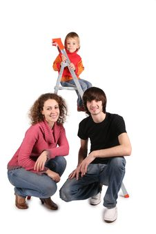 Family On Stepladder Royalty Free Stock Image