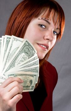 Free Seductive Look Girl Waving Dollars Stock Photography - 3908202