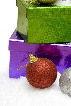 Christmas Balls And Gift Boxes Royalty Free Stock Photography