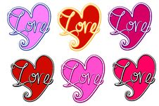 Free Various Retro Love Valentine Hearts Royalty Free Stock Photography - 3909657