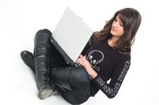Girl With Lap Top Stock Photography