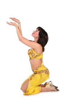 Free Yellow Bellydancer On Knees Stock Images - 3911034