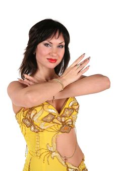 Free Bellydance Woman In Yellow Royalty Free Stock Photos - 3911078