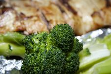 Salmon Served With Broccoli 4 Royalty Free Stock Photos