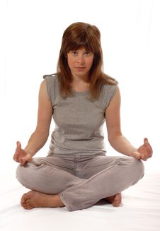 Free Cute Young Lady Meditating Royalty Free Stock Photography - 3911677