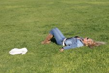 Woman Resting At The Park. Royalty Free Stock Photos