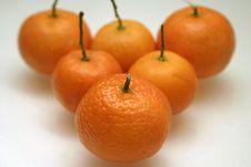Six Orange Mandarins Royalty Free Stock Photo