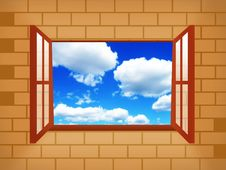 Window Illustration With Sky Stock Images