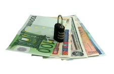Money With A Lock Royalty Free Stock Photo